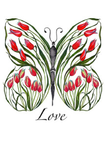 Red Tulip Love Butterfly