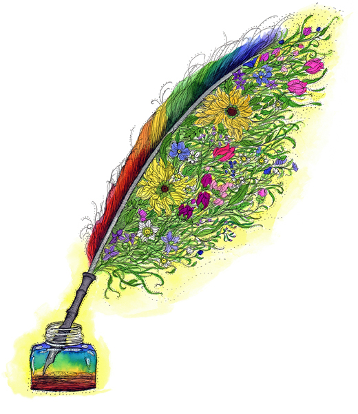 creative writing quill illustration
